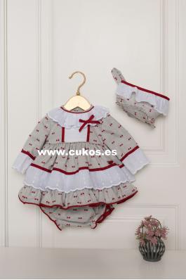 Conjunto de bebé en gris y rojo