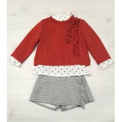 Conjunto de niña con jersey rojo