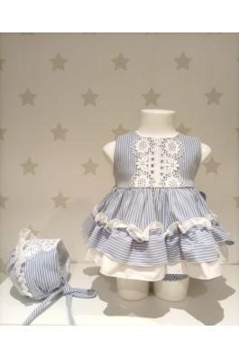 Vestido de bebé con rayas en azul