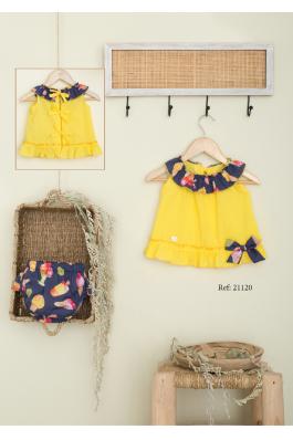 Vestido de plumeti en amarillo