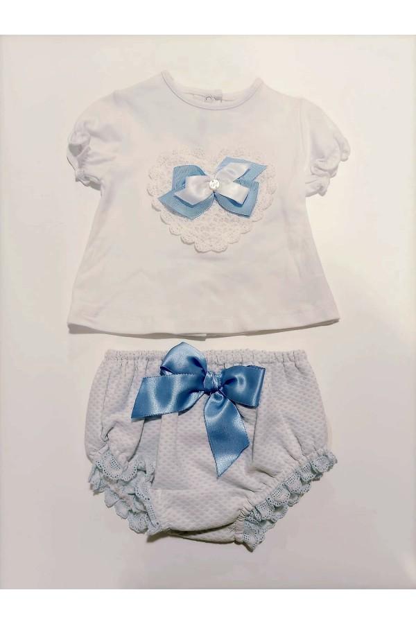 Conjunto de bebe en blanco y azul