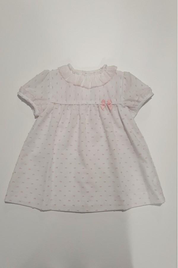 Vestido de bebé con puntitos rosa