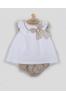 Vestido bebe blanco con detalles tostados
