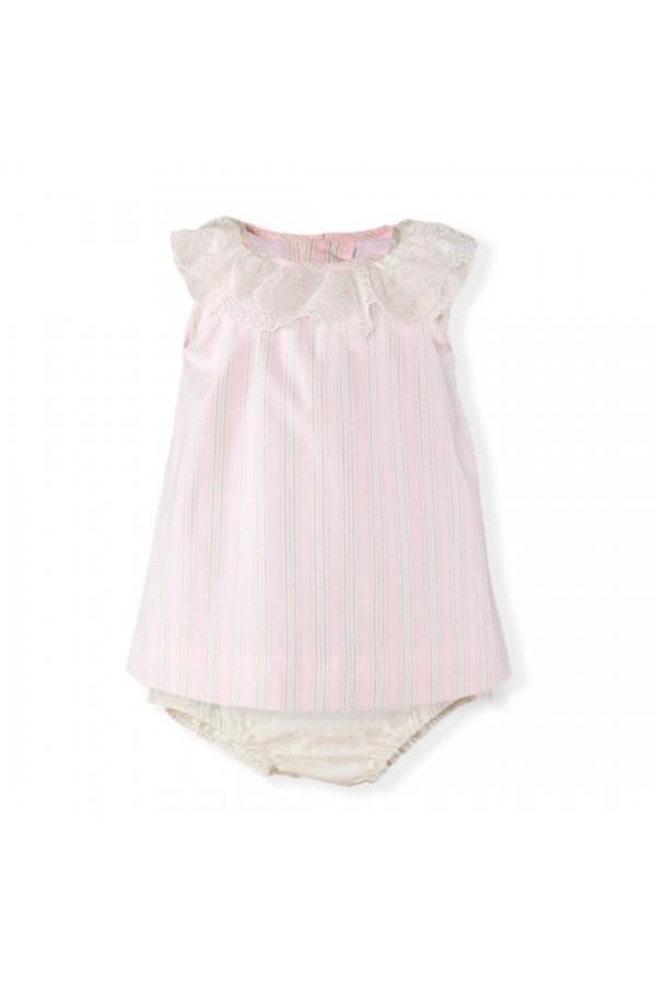 Vestido de bebé con rayas rosa