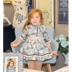 Vestido de niña con estampado turquesa