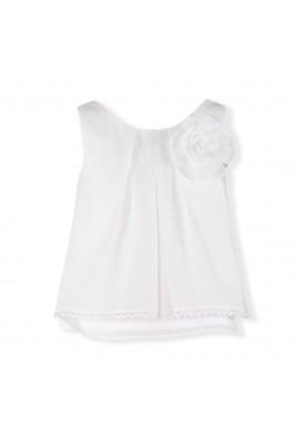 Blusa de niña en plumeti blanco