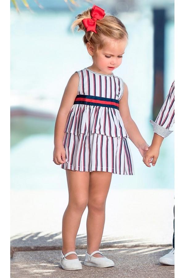 Vestido de bebé con rayas en rojo y marino