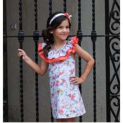 Vestido de niña con estampado en coral