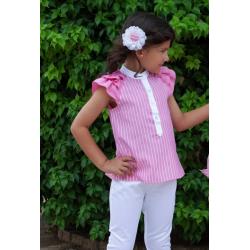 Conjunto de niña de blusa fucsia y pantalón blanco