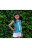 Conjunto de niña con blusa verde