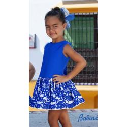 Vestido de niña en azulón y blanco