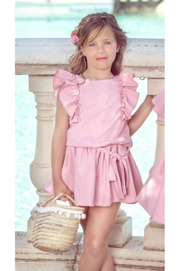 6549273229 Vestido de niña en rosa palo - Cukos