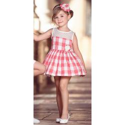 Vestido de niña en cuadros coral