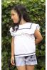 Conjunto de niña con short de rayas