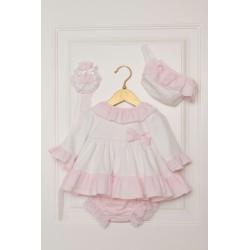 Vestido de bebé blanco y rosa