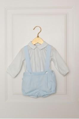Conjunto de bebé con tirantes en azul