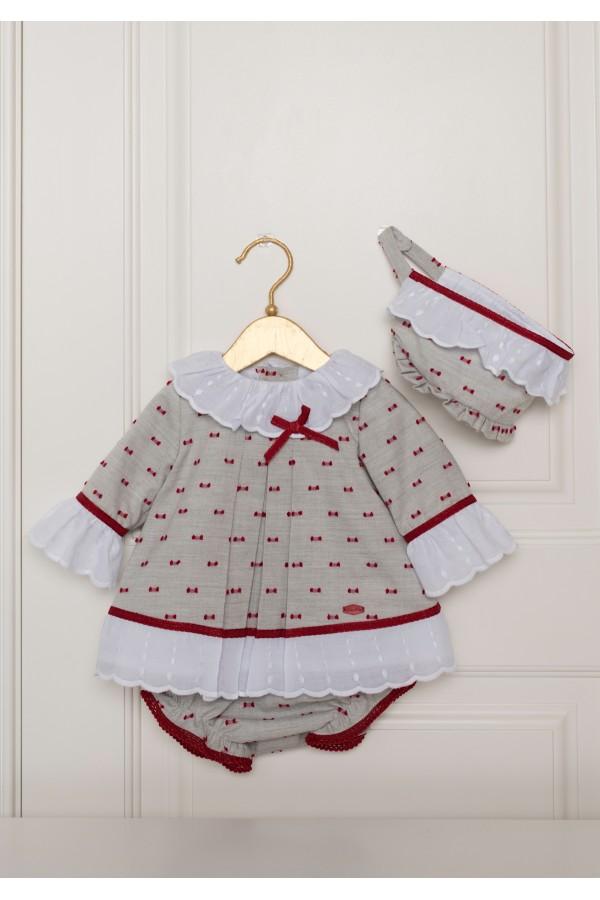 Vestido de bebé gris y rojo