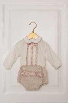 Conjunto de bebé con braguita camel
