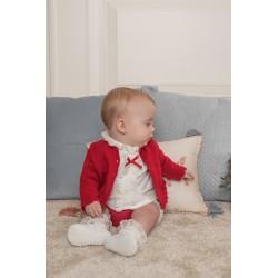 Conjunto de bebé con chaqueta roja