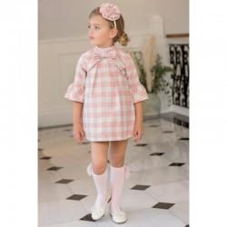 Vestido de niña en cuadro rosa y gris