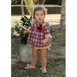 Vestido bebé cuadros granate