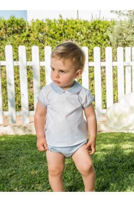 Conjunto de bebé con rayas azules