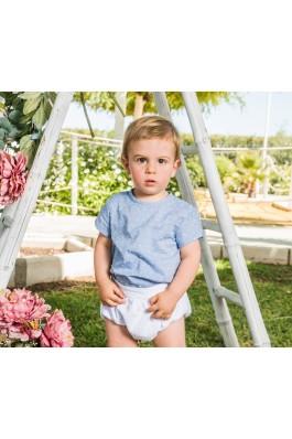 Conjunto de bebé en azul y blanco