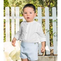 Conjunto de niño azul y blanco