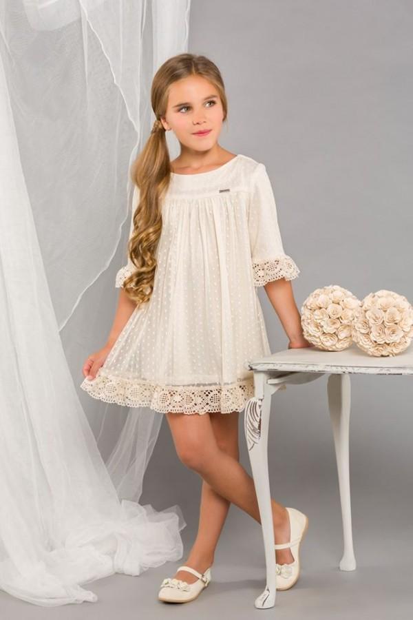 Vestido de niña beig de ceremonia
