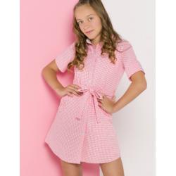 Vestido de niña con cuadro vichy rosado