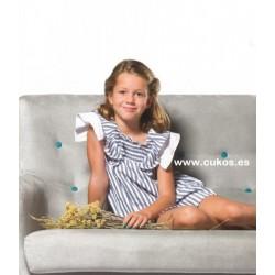 Vestido de niña con rayas en marino