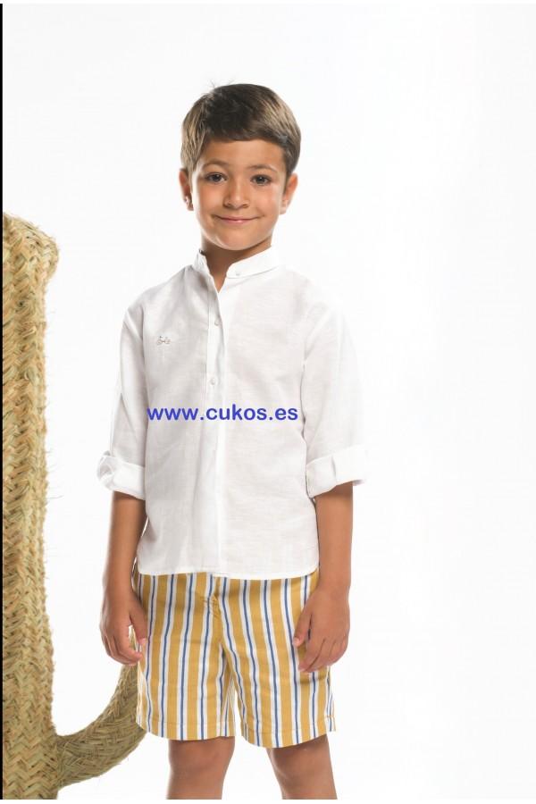 Conjunto de niño con bermuda de rayas