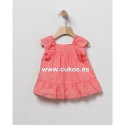 Vestido de bebé en plumeti coral