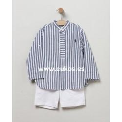 Conjunto de niño con camisa de rayas azules