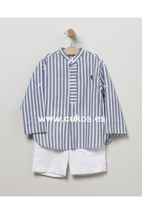 Conjunto de niño con camisa de rayas marino