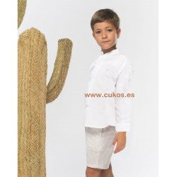 Conjunto de niño con bermuda de rayas tostadass