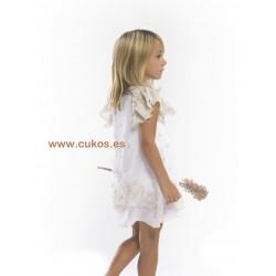 Vestido de gasa blanco con flores tostadas