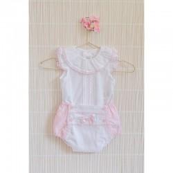 Conjunto de bebé con ranita rosa y blanco