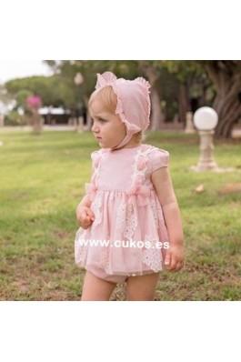 Vestido de bebé en tul rosa