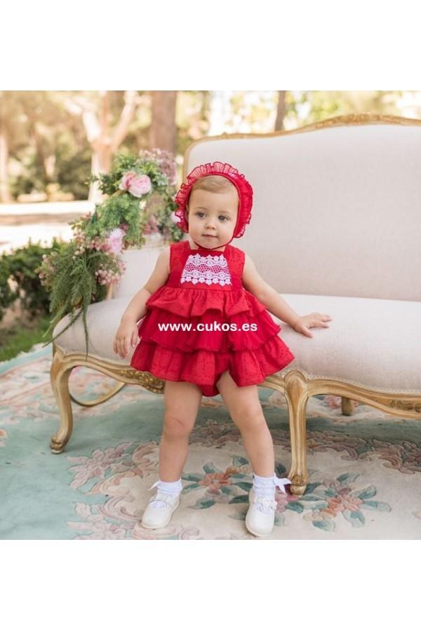 Vestido de bebé rojo con volantes