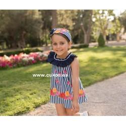Vestido de niña con rayas y flores