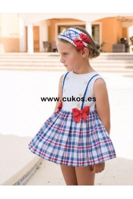 Vestido de niña con cuadros azul y rojos