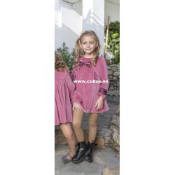 Vestido de niña en punto rosa