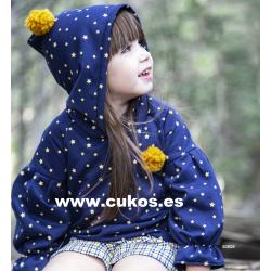 Conjunto de niña con sudadera de estrellas